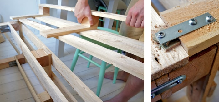 attaching the back of the bench