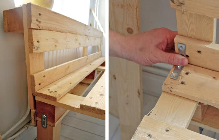 reinforcing the back of the bench
