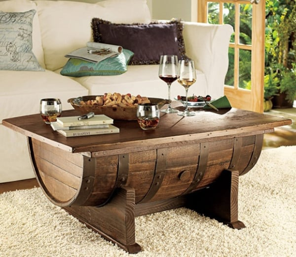 Coffee table out of an old barrell handyman tips - Fabriquer table basse originale ...