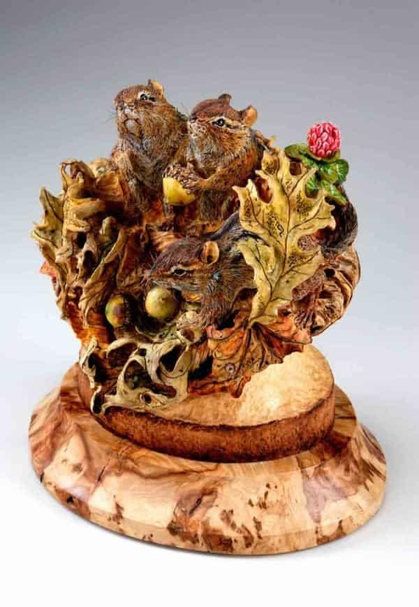 carved chipmunks