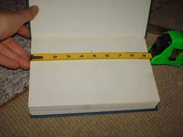 DIY invisible bookshelf measuring