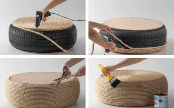 DIY tire chair - finish