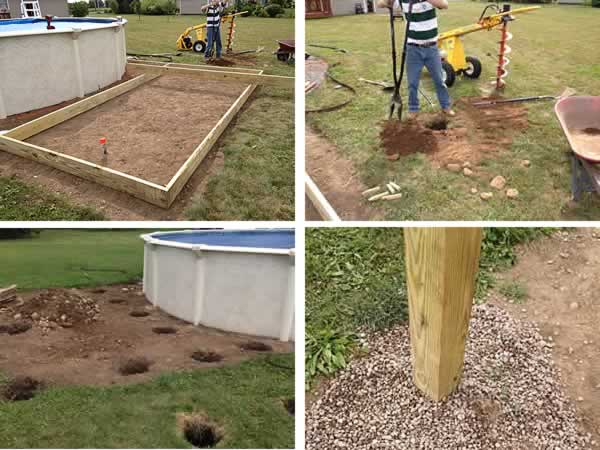 DIY pool deck - holes and posts