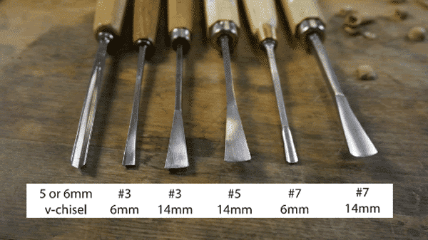 Types of wood carving tools - sizes