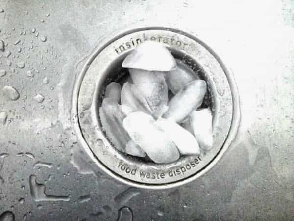 How to get rid of garbage disposal odor - cleaning with ice