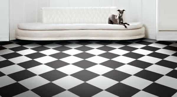 Decorating with carpet squares - checkerboard tiles
