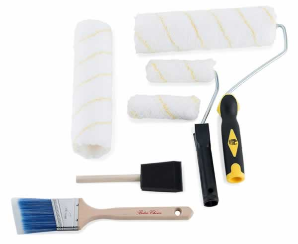 Essential tools for house painters - rollers and brushes