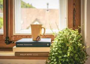 Window Upgrades for a Livelier Homey Feel - books and cup
