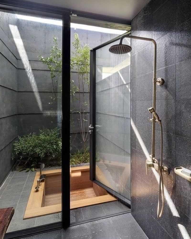 12 Fascinating Japanese Style Home Decor Ideas - soaking tub