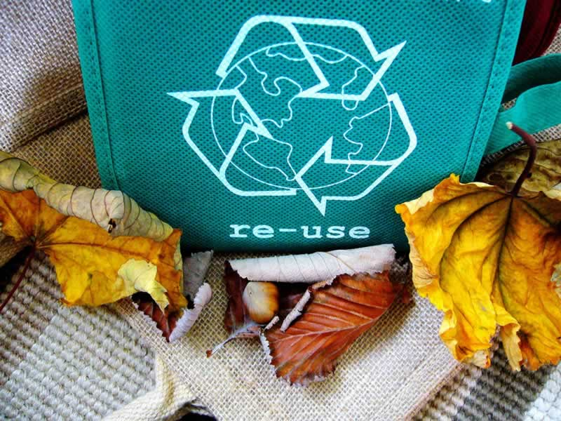 reuse sign on an eco friendly bag with autumn leaves around