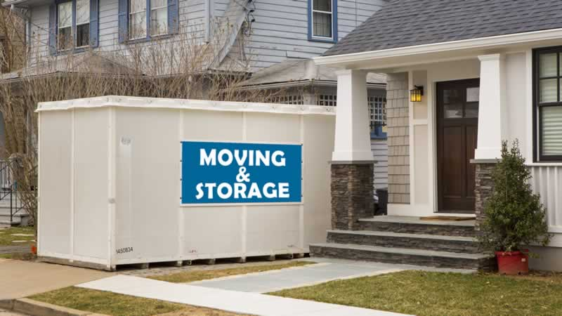 Rent a Storage Pod - pod in front of the house