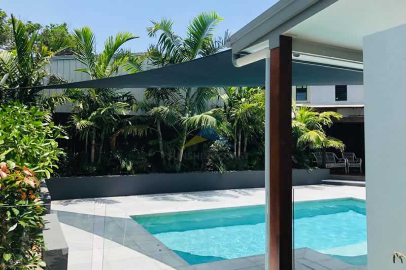 Shade Sails and Swimming Pool Evaporation Prevention - shade sail
