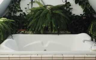 7 Ways To Make A Smaller Bathroom Look Twice Its Size - indoor plants