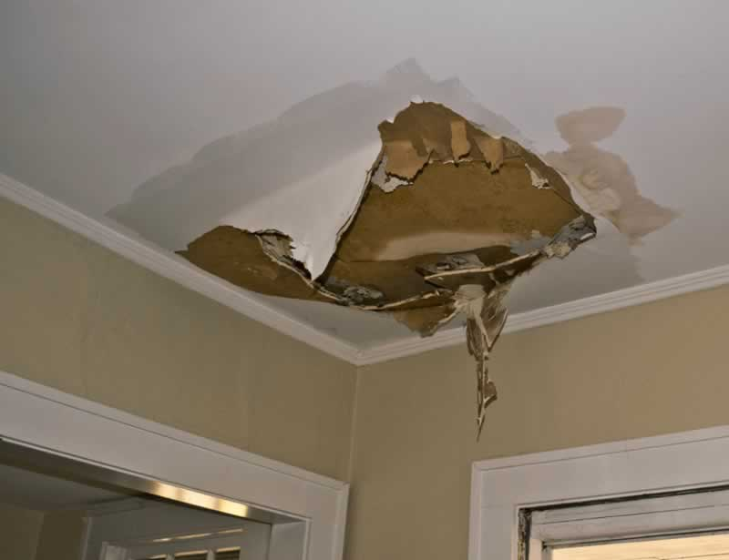 How to deal with ceiling water damage - drywall water damage