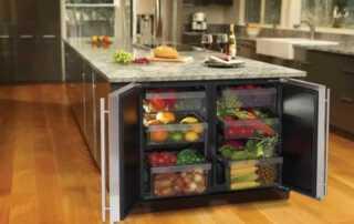 How to Organize Your Kitchen Appliances - kitchen island fridge