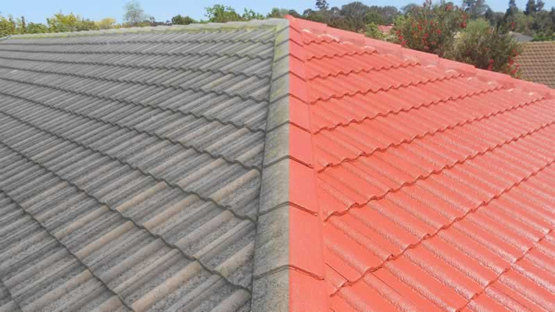 7 Steps To The Perfect Tile Roof Restoration - before and after
