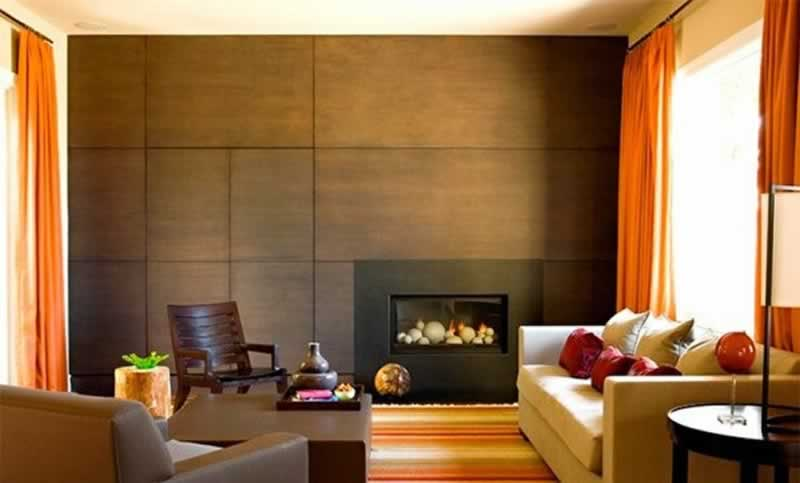 Modern wood paneling ideas for living rooms - one side