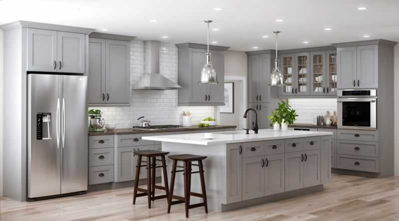 The Exciting Trend of Gray Kitchen Cabinets - farmhouse kitchen