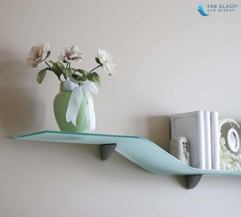 DIY Crafts to Install Glass Shelves for Glamorous Home Décor - bent shelves